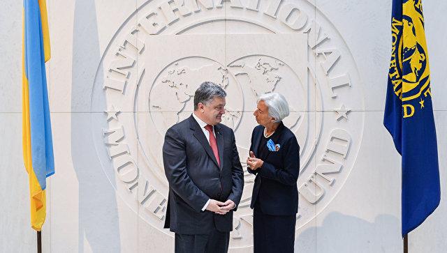 Президент Украины Петр Порошенко и глава Международного валютного фонда (МВФ) Кристин Лагард во время встречи