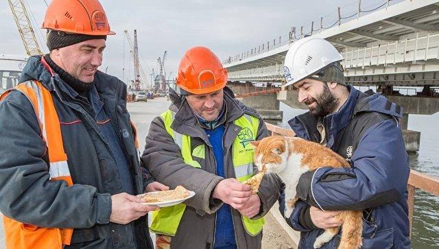 Строители Крымского моста отмечают Масленицу