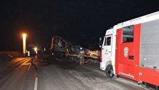 ДТП с участием трех фур и легкового автомобиля на трассе Керчь-Феодосия