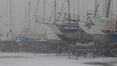 Снегопад в Евпатории. 27 февраля 2018