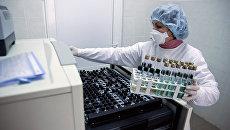 Медицинский сотрудник в лаборатории с образцами для анализа на Украине. Архивное фото