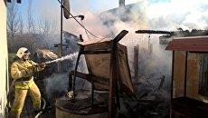 Тушение пожара в селе Золотое поле Кировского района