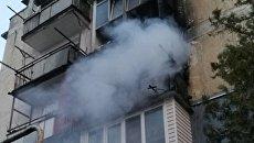 Пожар в пятиэтажном доме в Нижнегорском