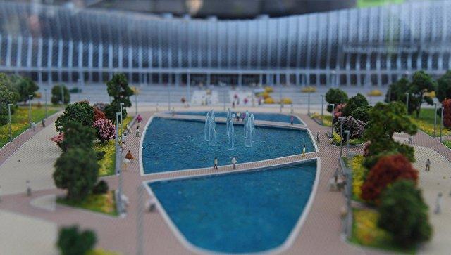 Макет зоны отдыха перед новым аэровокзальным комплексом аэропорта Симферополь