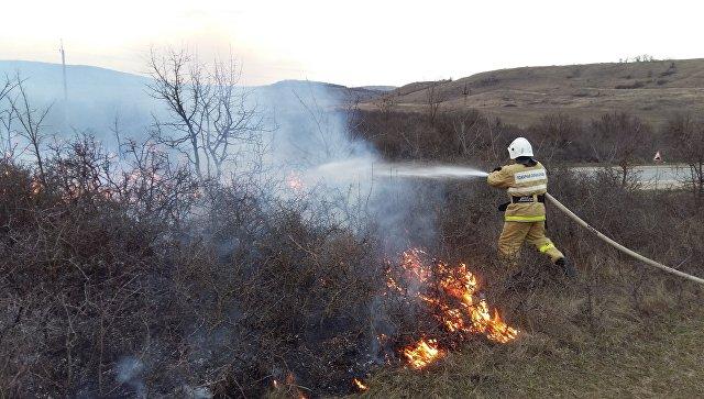 Загорание растительности в Крыму