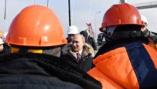 Президент России Владимир Путин посетил строительную площадку Крымского моста