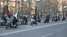 В Севастополе прошел мото-автопробег, организованный байкерским клубом Ночные волки в честь событий Крымской весны