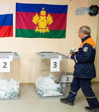 Видео голосования строителей Крымского моста на выборах президента России