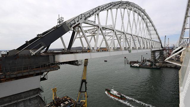 Видео сборки железнодорожной арки Крымского моста. 23 марта 2018
