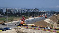 Строительство автоподходов к Крымскому мосту со стороны Керчи