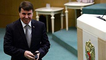 Сенатор от Заксобрания Крыма Сергей Цеков на заседании Совета Федерации Российской Федерации